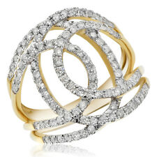 Space Band Cocktail Right Hand Ring 14K Yellow Gold Pave Diamond Wide Negative