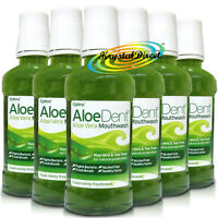6x Aloe Dent Aloe Vera Alcohol Fluoride Free Mouthwash 250ml