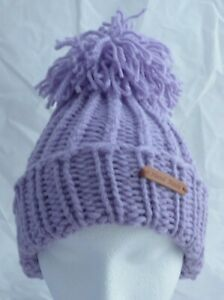 Teens -Adults Lilac Rib Hat & with scruffy look Pom-Pom Hat-hand made-Brand New