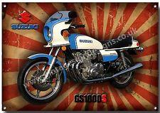 SUZUKI Classic gs1000s metallo segno, anni 1970, Retrò, Superbike, Moto giapponese vintage.