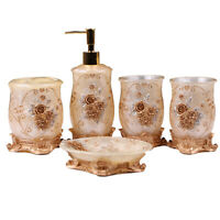 5pcs Gold Embossment Flowers Bathroom Accessory Set Resin Soap Dispenser Tumbler