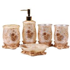 5pcs Gold Embossment Flowers Bathroom Accessory Set Resin Soap Dispenser Tumbler