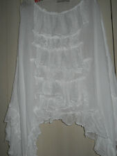 OSFA PIRATE WENCH WENCHY TOP POET SHIRT VICTORIAN GOTHIC OVERSIZED WHITE COTTON