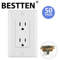 50PK Decorator 15A Wall Receptacle Outlet AC Adapter Charger w/ Wall Plate White