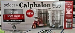 NEW SELECT BY CALPHALON 10 PC STAINLESS STEEL SPACE SAVING COOKWARE SET 2058551