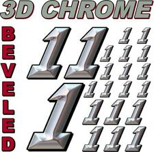 (1's) 3-D CHROME BEVELED NUMBERS Decal Sticker Sheet 1/8-1/10-1/12 RC Models