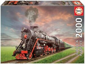 """NEW EDUCA Jigsaw Puzzle Game 2000 Tiles Pieces """"Steam Locomotive"""""""