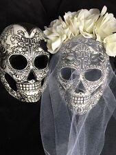 Bride Groom Sugar Skulls Mask Day Of The Dead Dia De Los Muertos Shells Black