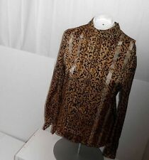 LADIE'S LUSCIOUS LEOPARD PRINT LONG SLEEVE BLOUSE W/ GOLD THREADS- HIGH NECK-  8