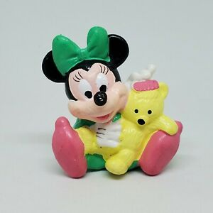 Vintage Baby Minnie Mouse PVC Figure Disney Applause Cake Topper Teddy Bear