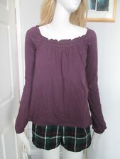 DOROTHY PERKINS - PURPLE, SCOOP NECK, LONG SLEEVED 100% COTTON TOP   Size SMALL