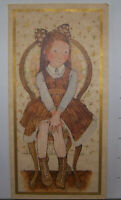 "Vintage Greeting Card Holly Hobbies Cute Little Girl In Chair Unusual 10"" Tall"