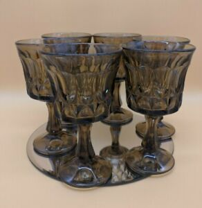 Vintage Glassware - Noritake Perspective 1970s Goblets Smokey COLOUR Set x 6 MCM
