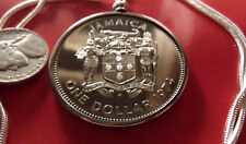 "1974 Jamaica Island Dollar Coin on an 18k White Gold Filled 24"" Chain 38mm diam."