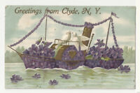 Postcard - NY - Greetings From Clyde, NY - Embossed - Posted - 1907