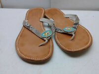 Wimberly Tan Animal Print Leather Flip Flop Thong Sandal Women's Shoes 8M 39