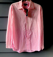 Polo Ralph Lauren Pink & White Striped Ombre Button Front Shirt Sz 10 NWT (C4)