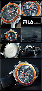 FILA Men's Watch Chronograph Stainless Cortina Tachymeter Leather Band Orange