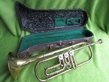 Antike KORNETT Messing Trompete mit Koffer Drehventile Mundstück R3M Hablowetz