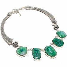 """Green Solar Quartz Druzy Gemstone Handmade Jewelry Necklace 18"""""""