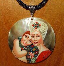 Lesbian gay love SHELL pendant The Girlfriends Gustav KLIMT beaded necklace GIFT
