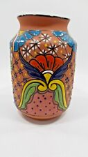 """11"""" VASE, flower pot, colorful mexican clay ceramic, handpainted folk art"""