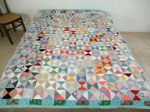 "Vintage Feed Sack & Other Old Cottons HOURGLASS Tied Quilt; 80"" x 68""; Nice !"