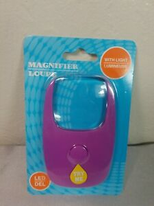 Small Purple Hand-held Magnifier Reader with LED Light Batteries Included New