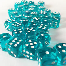 Chessex Dice Block d6 36 pcs 12mm - Translucent Teal w/ White - 23815 FREE BAG