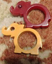 2 Vintage ELEPHANT Bakelite/Catalin Napkin Ring/Jewelry pendant Red ORANGE