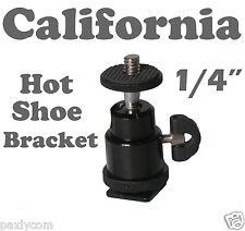 "Adjustable Swivel Angle Ball 1/4"" Hot Shoe Mount Adapter Holder Camera Video"