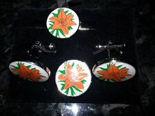 Orange Lily (white) cufflinks, tie slide and lapel pin set, Loyal Order, Ulster