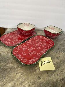 Temp-tations Tara Floral Lace Red Green Soup Bowl  Sandwich Platter/Plate 4 Pc