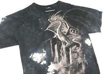 Vintage Dragon All Over Print Bleached Tie Dye T Shirt Black Mens L Mythological
