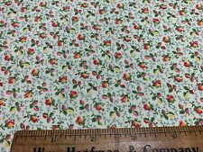Vintage Cotton Fabric 30s40s SWEET Lil Pink Yellow & Red Rosebuds Floral 35w 1yd