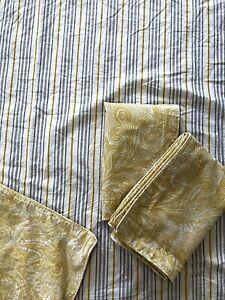 Ralph Lauren FULL/QUEEN Duvet Cover 2 STD SHAM Striped Paisley Yellow Gray Gold
