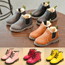 Kids Ankle Snow Boots Boys Girls Toddler Chelsea Warm Winter Fur Lined Shoe Size