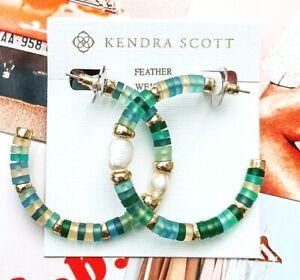 New KENDRA SCOTT Brand Lila Gold Hoop Earrings In Matte Sea Green & White Pearl