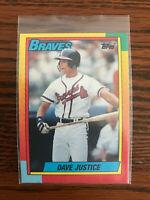 1990 Topps #48T Dave Justice David Baseball Card Rookie RC Atlanta Braves Raw