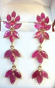 14k Solid Yellow Gold Leaf Dangle French Clip Earrings, Natural Ruby 5.65 Grams