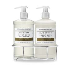 WILLIAMS SONOMA ~ SPICED CHESTNUT SOAP AND LOTION SET WITH WIRE CADDY