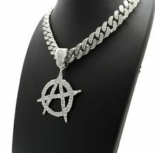 DIAMOND ANARCHY A PENDANT SILVER CUBAN LINK CHAIN NECKLACE ICEY HIP HOP RAPPER