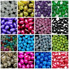 40 Pcs - Oval Glass Crackle Beads Jewellery Craft 10mm x 8mm Many Colour ML