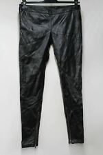 MUUBAA M1963 Ladies Black PU Leather High Rise Slim Trousers UK6 W28 L30 NEW