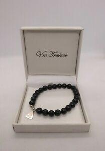 Von Treskow black onyx sterling silver bead bracelet with box