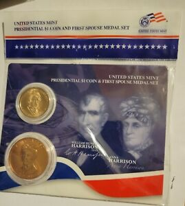 2009 William Harrison $1 Presidential Coin and First Spouse Medal Sealed