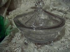 Vintage Unknown Large Etched 3 Footed Covered Candy Dish -  Shell looking Finial