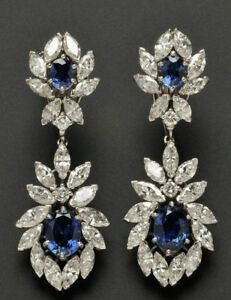 8Ct Oval Simulnt Blue Sapphire Diamond Chandelier Earrings White Gold Fns Silver