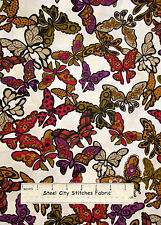 Loralie Harris Gypsy Chique Butterfly Fabric Butterflies Cream Tonal Cotton Yard