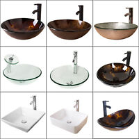 Vessel Sink Bowl Bathroom Tempered Glass Faucet Pop-up Drain Bath Basin Combo